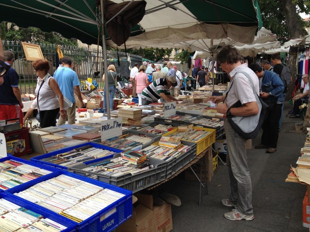 The flea market every Sunday morning.